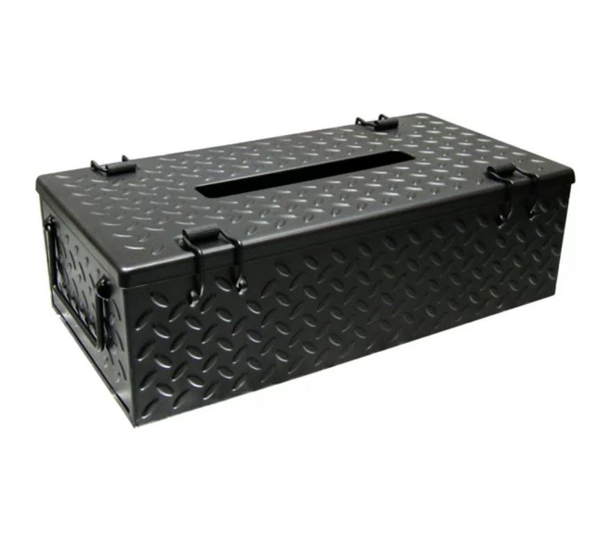 ガレージ鉄板柄のビンテージ ティッシュケース