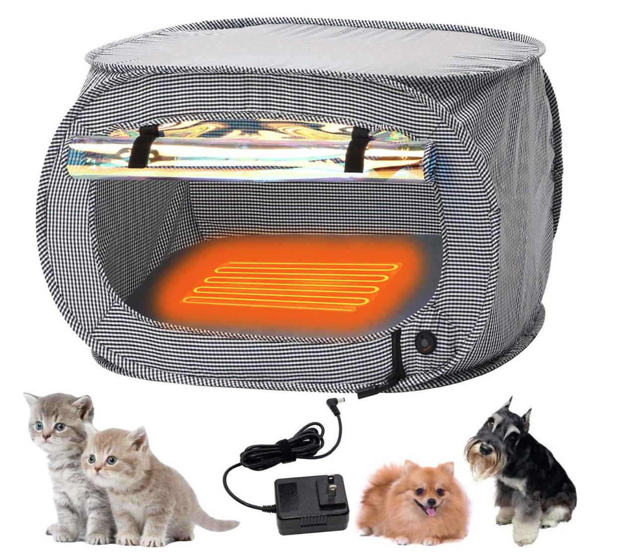 ZenCT ケージ 犬猫用 折りたたみソフトケージ ヒーターマット付き