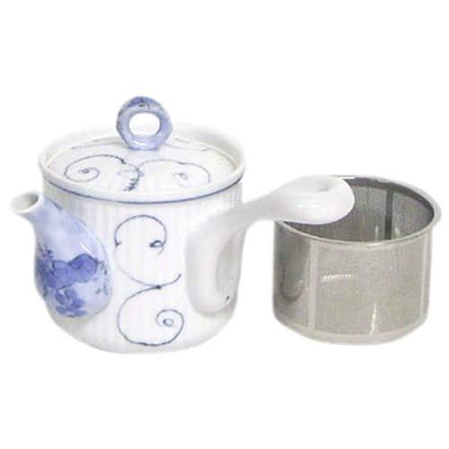 西海陶器 波佐見焼 急須 唐草ぶどう柄 スーパーステンレス茶こし付 300ml F23-60189